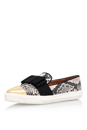 Lisa Beige Flat Slip On Sneakers By Miss Kg - secondary colour: white; predominant colour: black; occasions: casual; material: leather; heel height: flat; toe: pointed toe; finish: plain; pattern: animal print; embellishment: bow; shoe detail: moulded soul; style: skate shoes; season: s/s 2016; wardrobe: highlight