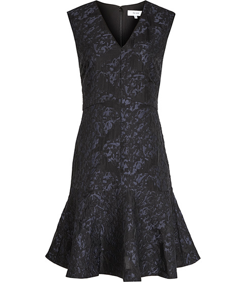 Saffy Jacquard Dress - style: shift; neckline: v-neck; fit: tailored/fitted; sleeve style: sleeveless; predominant colour: black; occasions: evening; length: just above the knee; fibres: cotton - mix; hip detail: soft pleats at hip/draping at hip/flared at hip; sleeve length: sleeveless; pattern type: fabric; pattern size: standard; pattern: patterned/print; texture group: brocade/jacquard; season: s/s 2016