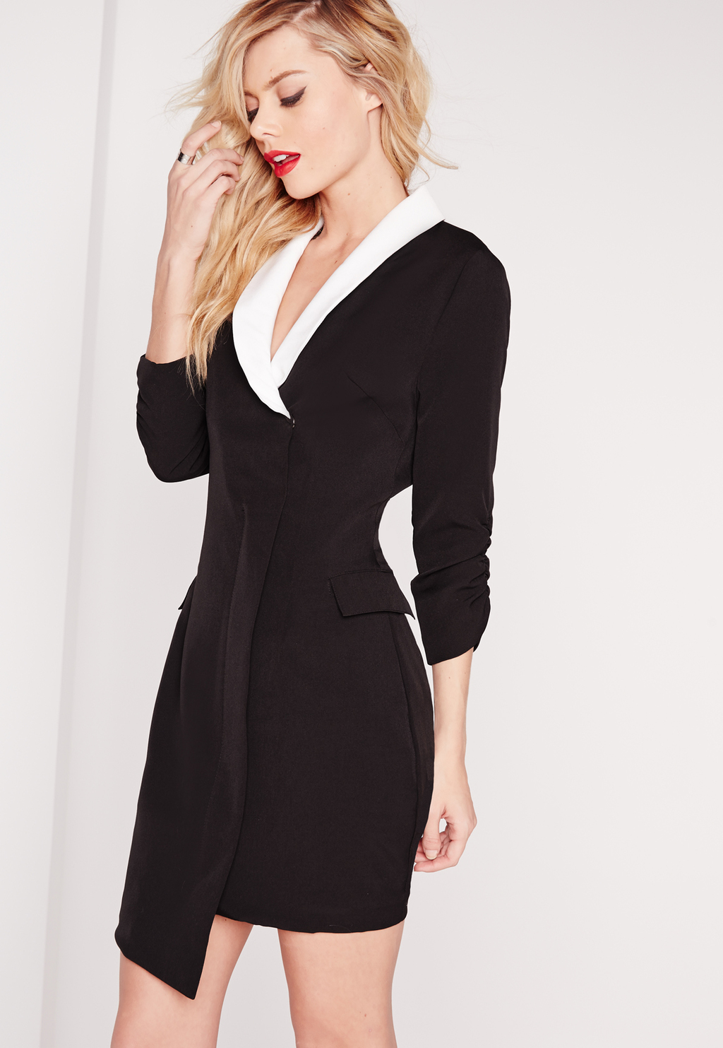 Crepe Ruched Sleeve Blazer Dress Monochrome, Black - style: shift; neckline: v-neck; fit: tailored/fitted; pattern: plain; hip detail: draws attention to hips; secondary colour: white; predominant colour: black; occasions: evening; length: just above the knee; fibres: polyester/polyamide - stretch; sleeve length: 3/4 length; sleeve style: standard; trends: monochrome; pattern type: fabric; texture group: other - light to midweight; season: s/s 2016; wardrobe: event
