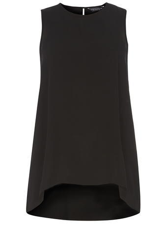 Womens **Tall Dip Back Shell Top Black - pattern: plain; sleeve style: sleeveless; length: below the bottom; predominant colour: black; occasions: casual; style: top; fibres: polyester/polyamide - 100%; fit: body skimming; neckline: crew; sleeve length: sleeveless; pattern type: fabric; texture group: other - light to midweight; season: s/s 2016; wardrobe: basic