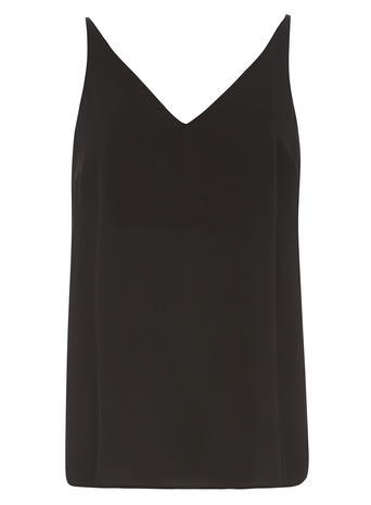 Womens **Tall Black V Neck Cami Top Black - neckline: low v-neck; pattern: plain; sleeve style: sleeveless; style: camisole; predominant colour: black; occasions: casual; length: standard; fibres: polyester/polyamide - 100%; fit: body skimming; sleeve length: sleeveless; pattern type: fabric; texture group: other - light to midweight; season: s/s 2016; wardrobe: basic