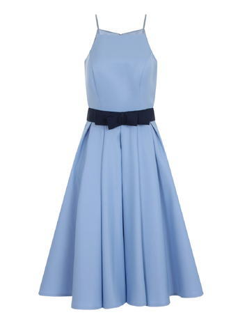 Womens **Chi Chi London High Neck Midi Dress Blue - length: below the knee; neckline: v-neck; sleeve style: spaghetti straps; pattern: plain; style: full skirt; waist detail: belted waist/tie at waist/drawstring; predominant colour: pale blue; secondary colour: navy; occasions: evening; fit: fitted at waist & bust; fibres: polyester/polyamide - 100%; sleeve length: sleeveless; pattern type: fabric; texture group: other - light to midweight; embellishment: bow; season: s/s 2016; wardrobe: event