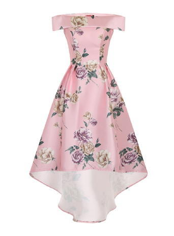 Womens **Chi Chi London Bardot Floral Midi Dress Pink - length: below the knee; neckline: off the shoulder; sleeve style: capped; style: full skirt; predominant colour: pink; secondary colour: lilac; occasions: evening; fit: fitted at waist & bust; fibres: polyester/polyamide - 100%; sleeve length: short sleeve; pattern type: fabric; pattern: florals; texture group: other - light to midweight; multicoloured: multicoloured; season: s/s 2016; wardrobe: event