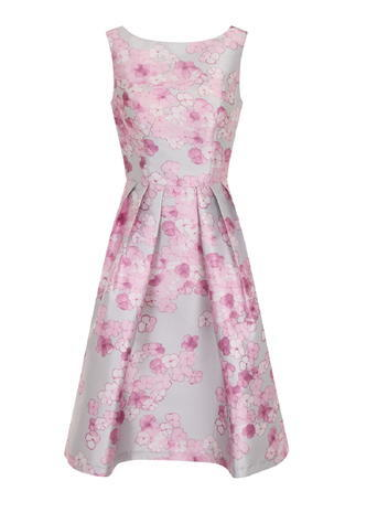 Womens **Chi Chi London Pink Floral Print Midi Dress Pink - length: below the knee; neckline: round neck; sleeve style: sleeveless; style: full skirt; predominant colour: lilac; occasions: evening; fit: fitted at waist & bust; fibres: polyester/polyamide - 100%; sleeve length: sleeveless; pattern type: fabric; pattern: florals; texture group: other - light to midweight; secondary colour: dusky pink; multicoloured: multicoloured; season: s/s 2016; wardrobe: event