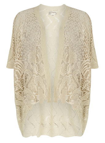 Womens **Voulez Vouz Beige Crochet Cardigan Cream - pattern: plain; length: below the bottom; neckline: collarless open; style: open front; predominant colour: stone; occasions: casual, creative work; fibres: acrylic - 100%; fit: standard fit; sleeve length: short sleeve; sleeve style: standard; texture group: knits/crochet; pattern type: knitted - fine stitch; pattern size: standard; embellishment: lace; season: s/s 2016; wardrobe: highlight