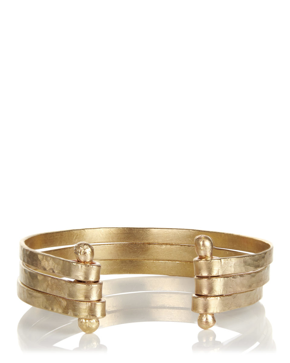 Made Three Part Open Cuff - predominant colour: gold; occasions: evening, creative work; style: cuff; size: standard; material: chain/metal; finish: metallic; season: s/s 2016; wardrobe: highlight