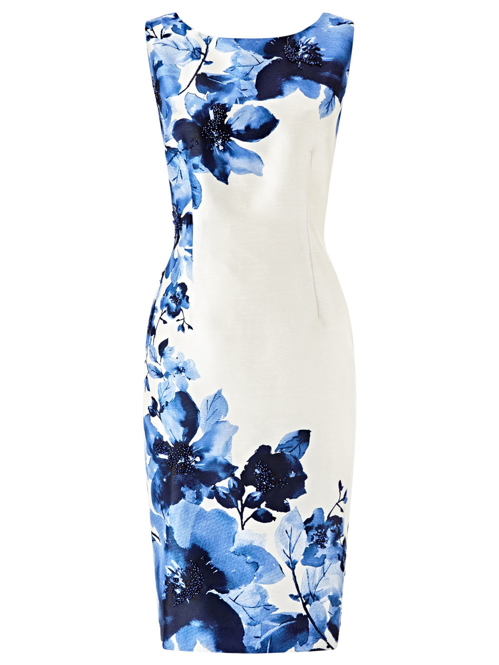 Digital Print Bead Detail Dress, Cream/Blue - style: shift; neckline: round neck; sleeve style: sleeveless; predominant colour: ivory/cream; secondary colour: navy; occasions: evening; length: just above the knee; fit: body skimming; fibres: polyester/polyamide - 100%; sleeve length: sleeveless; pattern type: fabric; pattern: florals; texture group: jersey - stretchy/drapey; multicoloured: multicoloured; season: s/s 2016; wardrobe: event