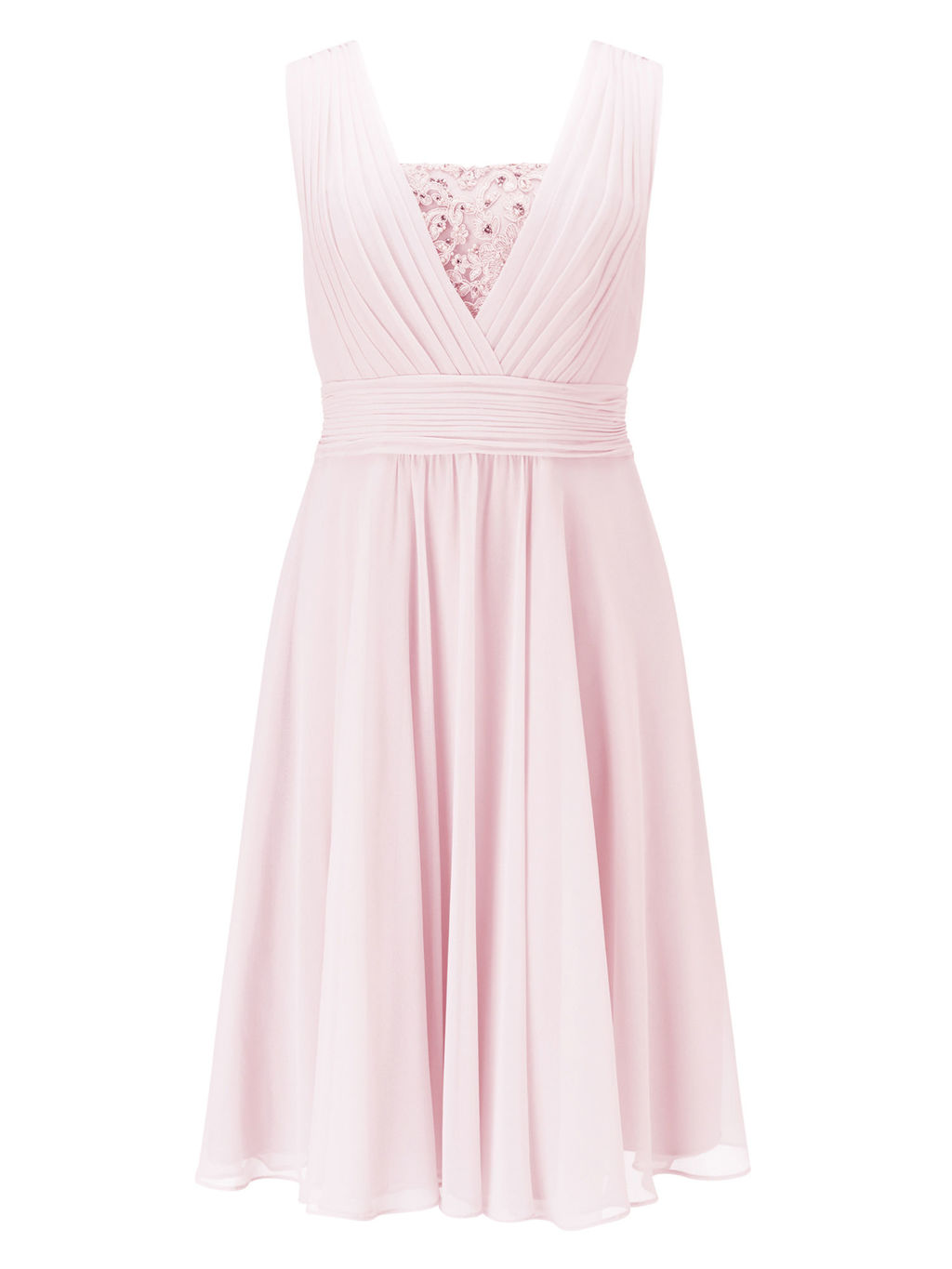 Lace Insert Dress - length: below the knee; neckline: low v-neck; pattern: plain; sleeve style: sleeveless; predominant colour: pink; fit: fitted at waist & bust; style: fit & flare; fibres: polyester/polyamide - 100%; occasions: occasion; hip detail: subtle/flattering hip detail; sleeve length: sleeveless; texture group: sheer fabrics/chiffon/organza etc.; pattern type: fabric; embellishment: lace; season: s/s 2016; wardrobe: event; embellishment location: bust