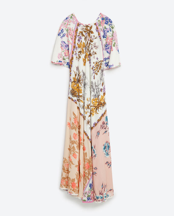 Printed Dress - neckline: round neck; style: maxi dress; predominant colour: white; secondary colour: blush; occasions: evening; length: floor length; fit: body skimming; fibres: viscose/rayon - 100%; sleeve length: half sleeve; sleeve style: standard; pattern type: fabric; pattern: florals; texture group: other - light to midweight; multicoloured: multicoloured; season: s/s 2016; wardrobe: event