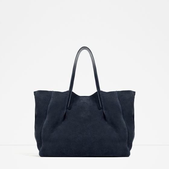 Leather Tote - predominant colour: navy; type of pattern: standard; style: tote; length: shoulder (tucks under arm); size: oversized; material: leather; pattern: plain; finish: plain; occasions: creative work; season: s/s 2016; wardrobe: investment