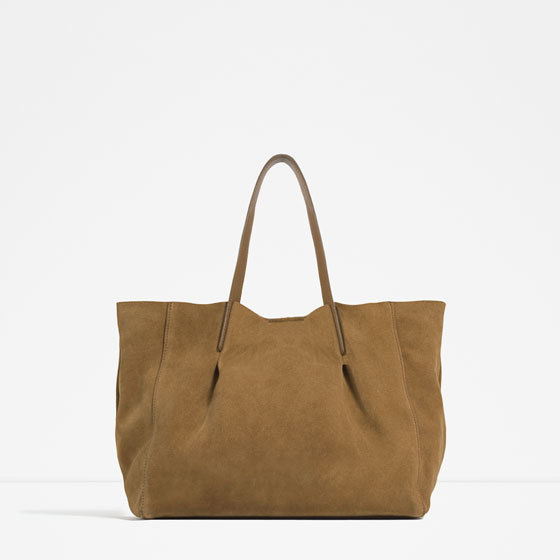 Leather Tote - predominant colour: camel; occasions: casual, creative work; type of pattern: standard; style: tote; length: shoulder (tucks under arm); size: oversized; material: suede; pattern: plain; finish: plain; season: s/s 2016; wardrobe: investment