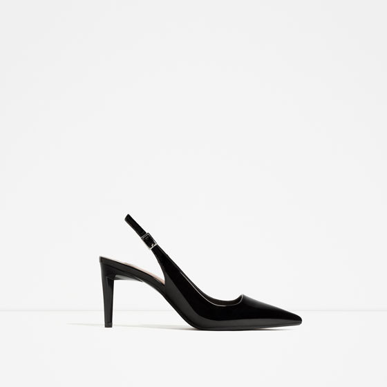 Slingback High Heel Shoes - predominant colour: black; occasions: evening; material: faux leather; heel height: high; heel: stiletto; toe: pointed toe; style: slingbacks; finish: patent; pattern: plain; season: s/s 2016; wardrobe: event