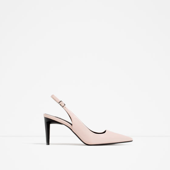 Slingback High Heel Shoes - predominant colour: nude; occasions: evening; material: faux leather; heel height: high; heel: stiletto; toe: pointed toe; style: slingbacks; finish: plain; pattern: plain; season: s/s 2016; wardrobe: event