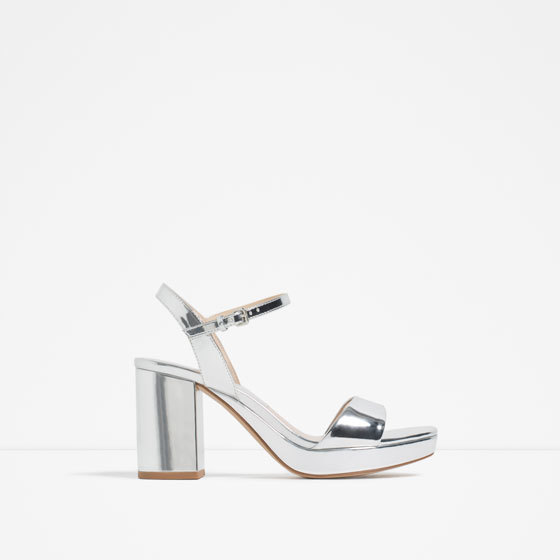 Laminated Platform Sandals - predominant colour: silver; occasions: evening; material: faux leather; heel height: high; ankle detail: ankle strap; heel: block; toe: open toe/peeptoe; style: standard; finish: metallic; pattern: plain; shoe detail: platform; season: s/s 2016; wardrobe: event