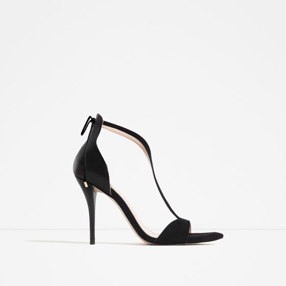 High Heel Strappy Sandals - predominant colour: black; occasions: evening; material: faux leather; heel height: high; heel: stiletto; toe: open toe/peeptoe; style: strappy; finish: plain; pattern: plain; season: s/s 2016