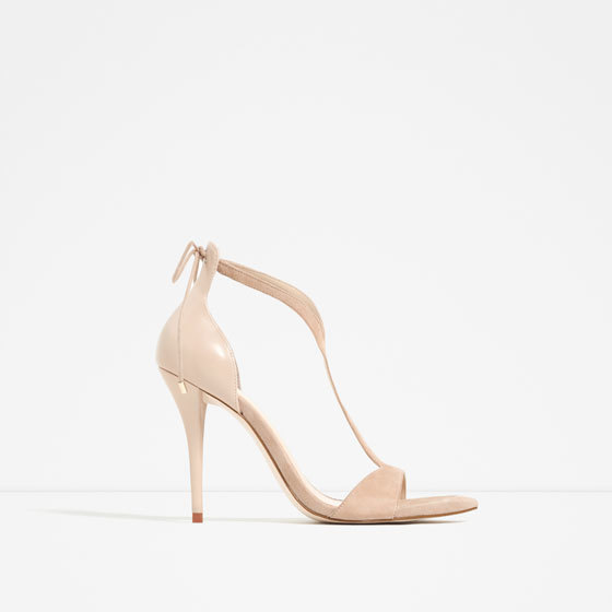 High Heel Strappy Sandals - predominant colour: nude; occasions: evening, occasion; material: faux leather; heel height: high; ankle detail: ankle strap; heel: stiletto; toe: open toe/peeptoe; style: strappy; finish: plain; pattern: plain; season: s/s 2016