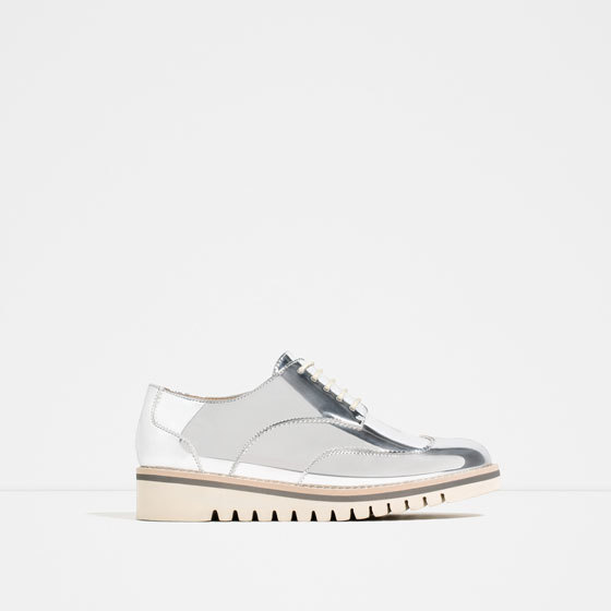 Metallic Flat Shoes With Brogue Detail - predominant colour: silver; occasions: evening; material: faux leather; heel height: flat; toe: round toe; finish: metallic; pattern: plain; style: lace ups; season: s/s 2016; wardrobe: basic