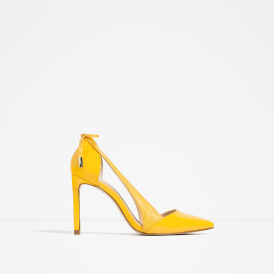 High Heel Shoes With Bow - predominant colour: yellow; occasions: evening; material: faux leather; heel height: high; heel: stiletto; toe: pointed toe; style: courts; finish: plain; pattern: plain; season: s/s 2016; wardrobe: event