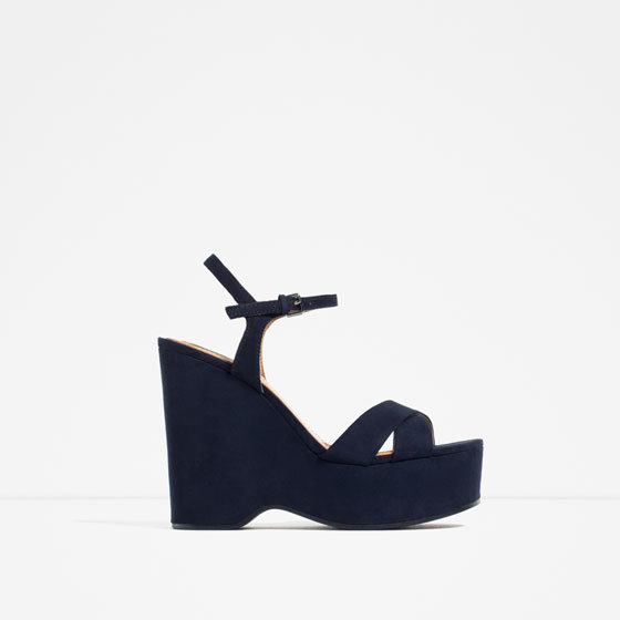Wedges With Ankle Strap - predominant colour: navy; occasions: casual; material: faux leather; heel height: high; ankle detail: ankle strap; heel: wedge; toe: open toe/peeptoe; style: strappy; finish: plain; pattern: plain; shoe detail: platform; season: s/s 2016; wardrobe: investment