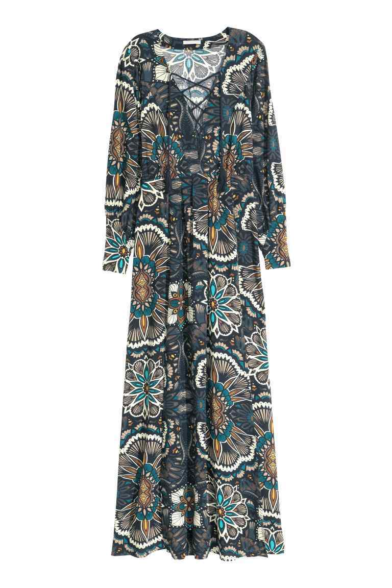 Patterned Maxi Dress - neckline: v-neck; sleeve style: standard vest straps/shoulder straps; style: maxi dress; predominant colour: navy; secondary colour: stone; occasions: evening; length: floor length; fit: body skimming; fibres: viscose/rayon - 100%; sleeve length: long sleeve; pattern type: fabric; pattern: florals; texture group: other - light to midweight; multicoloured: multicoloured; season: s/s 2016; wardrobe: event