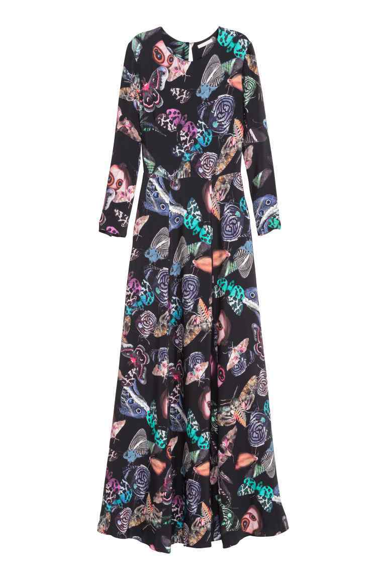 Patterned Maxi Dress - style: maxi dress; secondary colour: purple; predominant colour: black; occasions: evening; length: floor length; fit: body skimming; fibres: viscose/rayon - 100%; neckline: crew; sleeve length: long sleeve; sleeve style: standard; pattern type: fabric; pattern: florals; texture group: other - light to midweight; multicoloured: multicoloured; season: s/s 2016; wardrobe: event