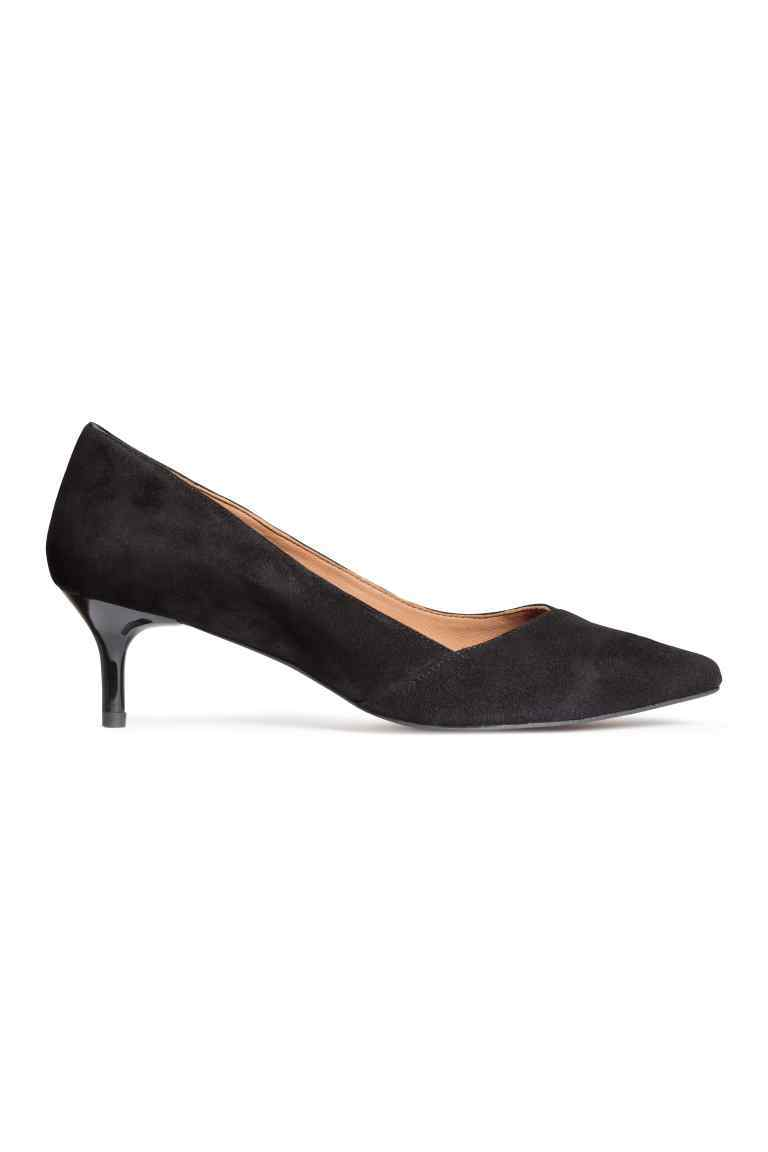 Suede Kitten Heel Court Shoes - predominant colour: black; occasions: evening; material: suede; heel height: mid; heel: kitten; toe: pointed toe; style: courts; finish: plain; pattern: plain; season: s/s 2016; wardrobe: event