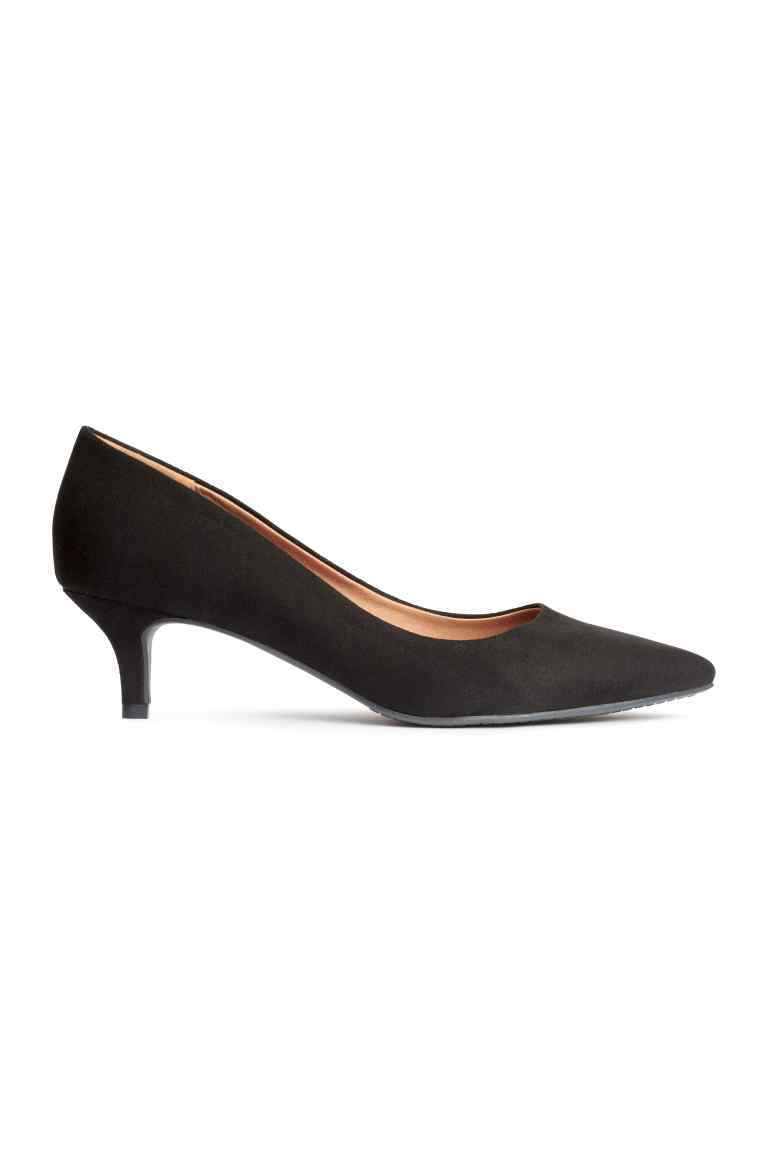 Court Shoes With A Low Heel - predominant colour: black; occasions: evening; heel height: mid; heel: kitten; toe: pointed toe; style: courts; finish: plain; pattern: plain; material: faux suede; season: s/s 2016; wardrobe: event