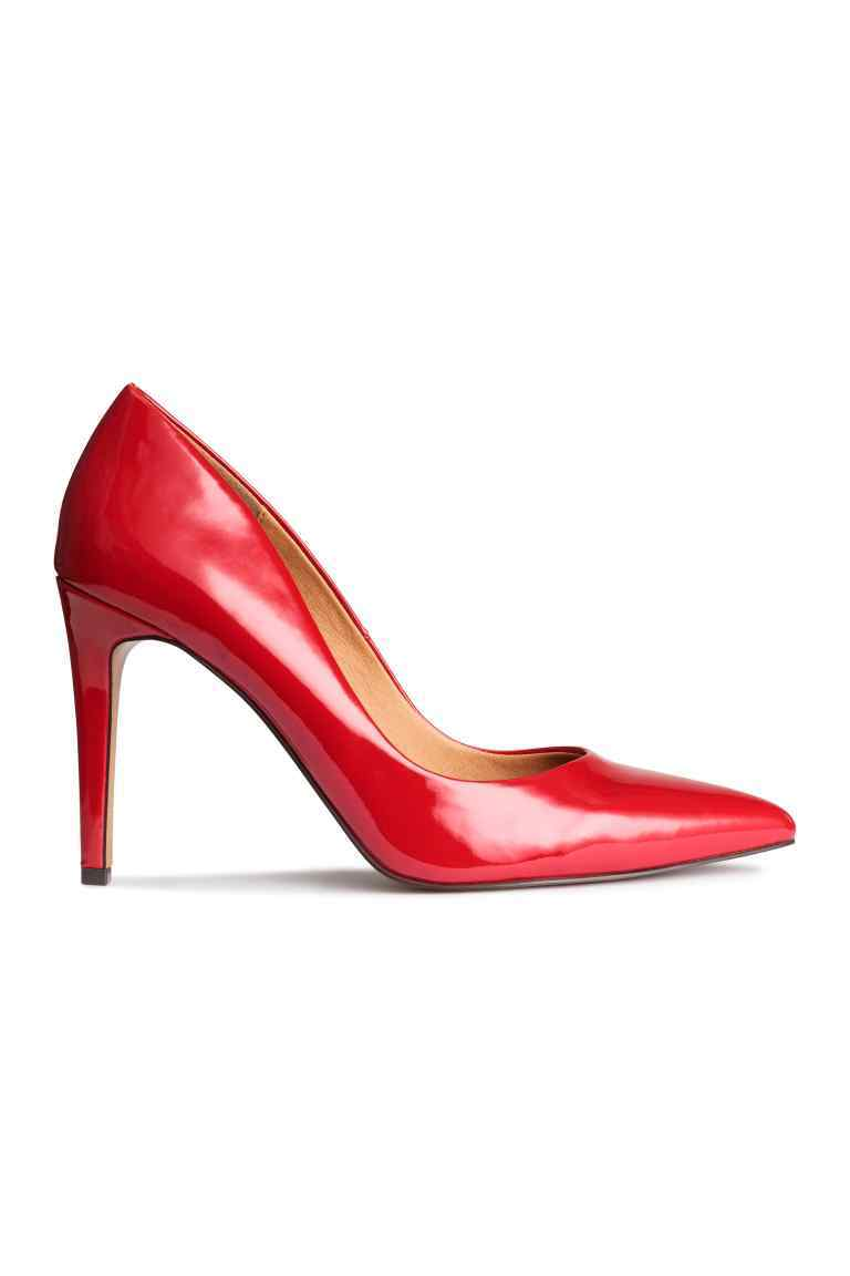 Court Shoes - predominant colour: true red; occasions: evening; material: faux leather; heel: stiletto; toe: pointed toe; style: courts; finish: patent; pattern: plain; heel height: very high; season: s/s 2016