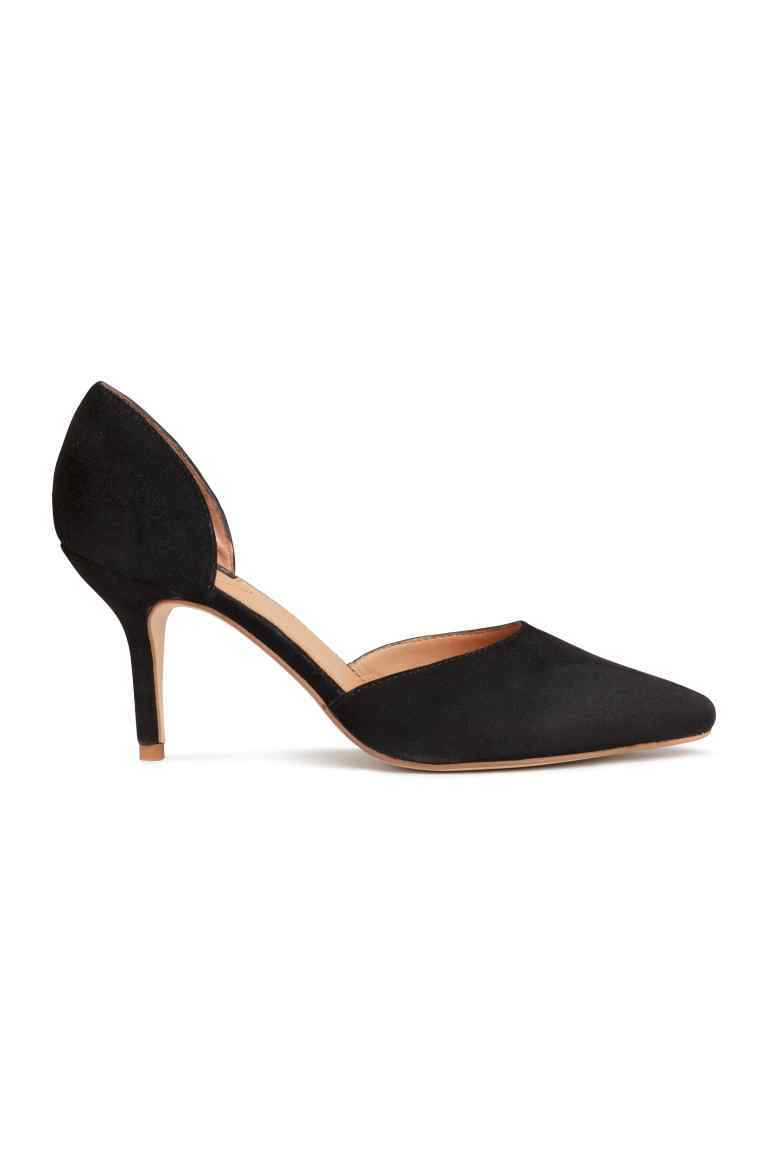 Suede Court Shoes - predominant colour: black; occasions: evening; material: suede; heel height: mid; heel: stiletto; toe: pointed toe; style: courts; finish: plain; pattern: plain; season: s/s 2016; wardrobe: event