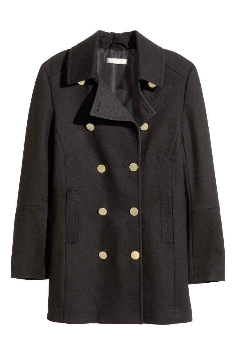 Peacoat - pattern: plain; length: standard; style: pea coat; collar: standard lapel/rever collar; predominant colour: black; occasions: casual, creative work; fit: straight cut (boxy); fibres: cotton - mix; sleeve length: long sleeve; sleeve style: standard; collar break: medium; pattern type: fabric; texture group: other - light to midweight; season: s/s 2016; wardrobe: basic