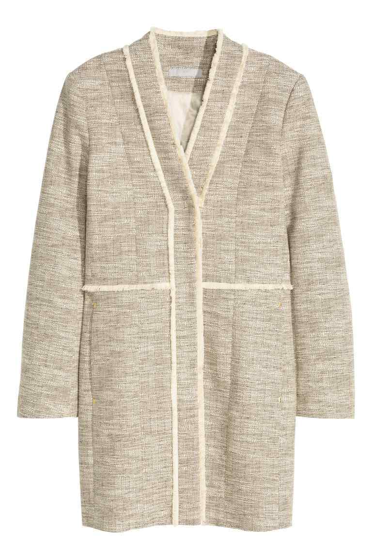 Coat In A Textured Weave - pattern: plain; collar: round collar/collarless; style: single breasted; fit: slim fit; length: mid thigh; predominant colour: stone; occasions: casual; fibres: cotton - mix; sleeve length: long sleeve; sleeve style: standard; collar break: medium; pattern type: fabric; texture group: woven bulky/heavy; season: s/s 2016; wardrobe: basic