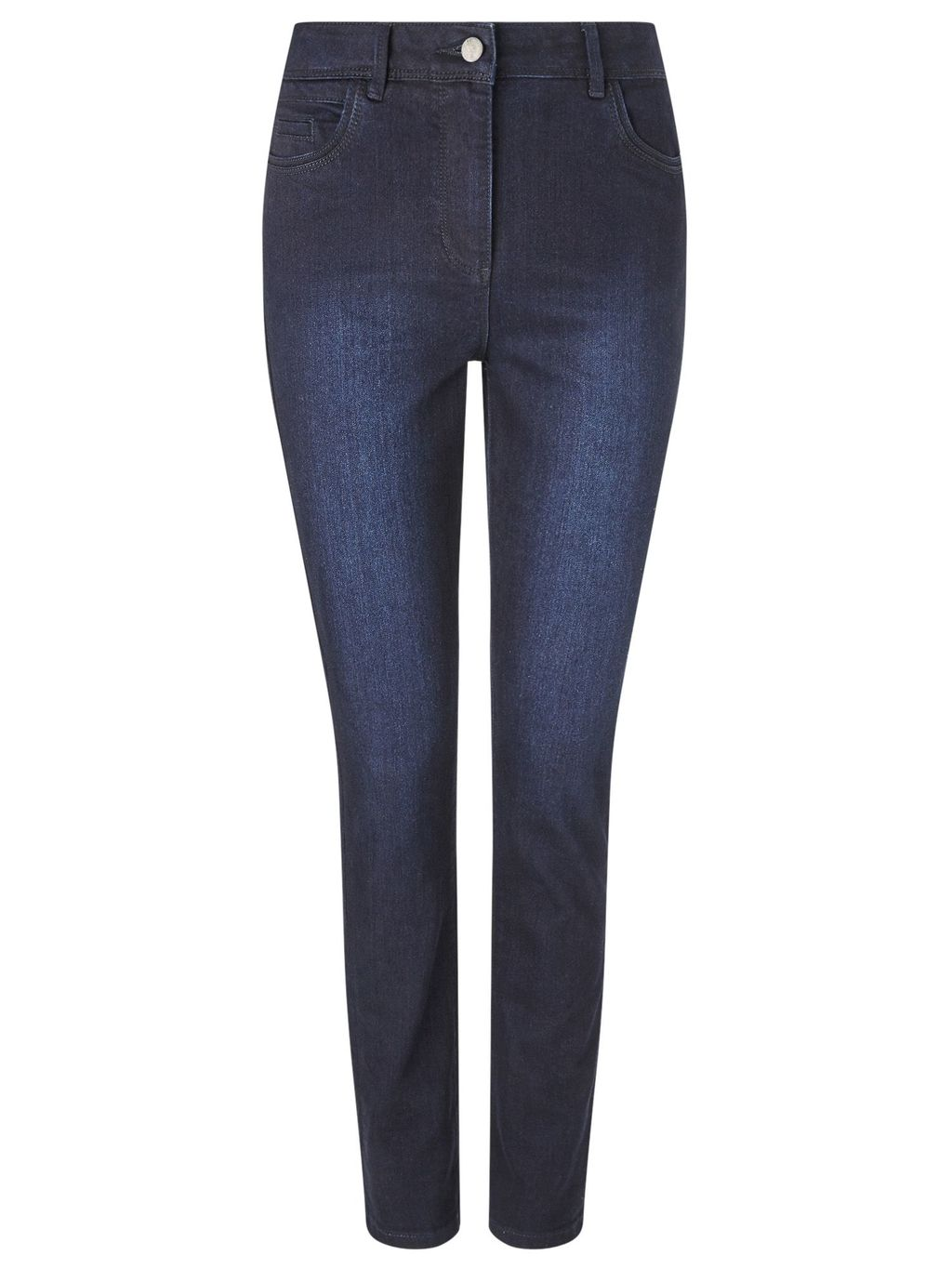 Dark Straight Leg Jean Long, Denim - style: straight leg; length: standard; pattern: plain; pocket detail: traditional 5 pocket; waist: mid/regular rise; predominant colour: navy; occasions: casual; fibres: cotton - stretch; jeans detail: shading down centre of thigh; texture group: denim; pattern type: fabric; season: s/s 2016; wardrobe: basic