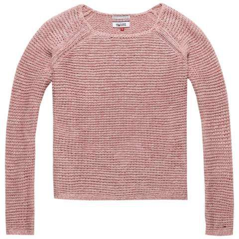 Basic Twisted Sweater, Pink - neckline: round neck; pattern: plain; style: standard; predominant colour: pink; occasions: casual; length: standard; fibres: cotton - 100%; fit: slim fit; sleeve length: long sleeve; sleeve style: standard; texture group: knits/crochet; pattern type: fabric; season: s/s 2016; wardrobe: highlight