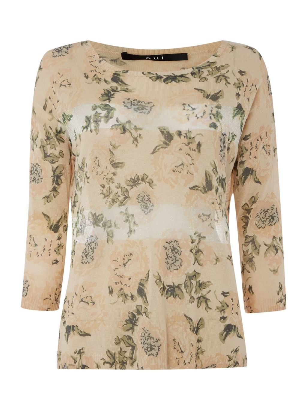 Floral Stripe Jumper, Multi Coloured - neckline: round neck; style: standard; predominant colour: nude; secondary colour: mid grey; occasions: casual; length: standard; fit: slim fit; sleeve length: long sleeve; sleeve style: standard; pattern type: fabric; pattern: florals; texture group: jersey - stretchy/drapey; fibres: viscose/rayon - mix; multicoloured: multicoloured; season: s/s 2016; wardrobe: highlight