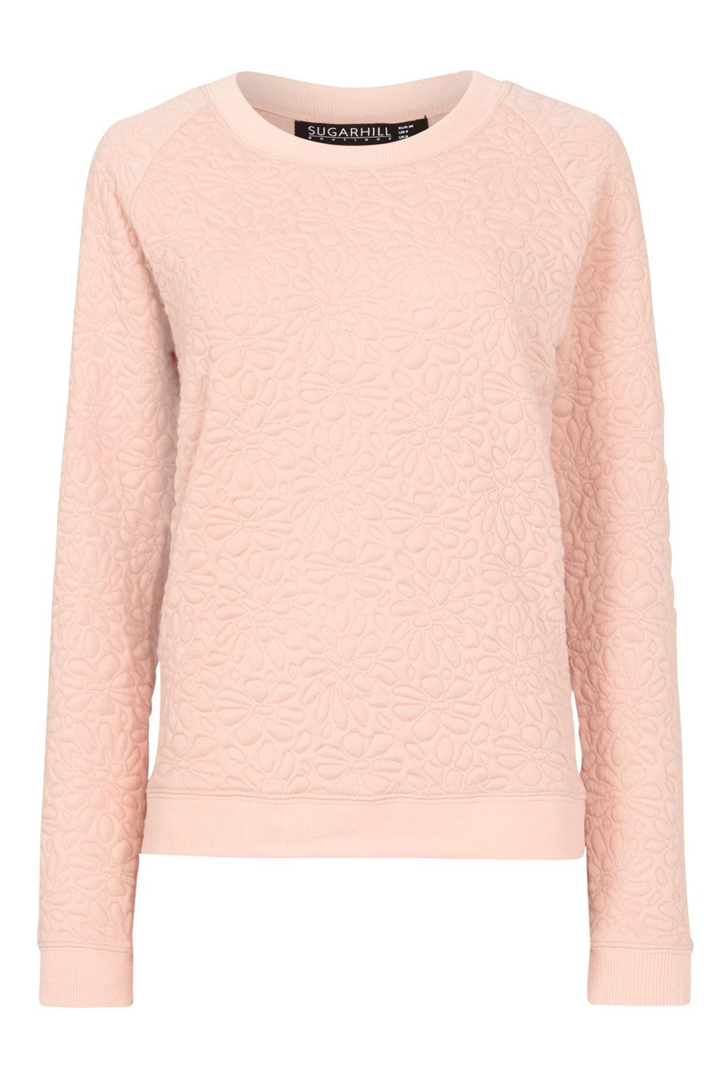 Betty Floral Embossed Sweater, Peach - pattern: plain; style: standard; predominant colour: blush; occasions: casual; length: standard; fibres: cotton - mix; fit: slim fit; neckline: crew; sleeve length: long sleeve; sleeve style: standard; pattern type: fabric; texture group: other - light to midweight; season: s/s 2016; wardrobe: highlight