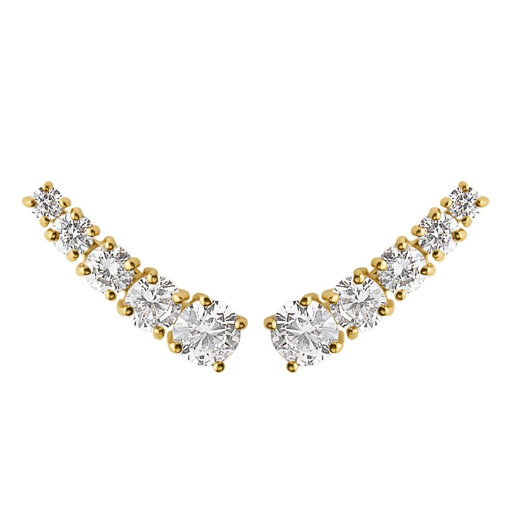 Hexa Earpost, N/A - predominant colour: ivory/cream; occasions: evening; style: stud; length: short; size: small/fine; material: chain/metal; fastening: pierced; finish: metallic; season: s/s 2016