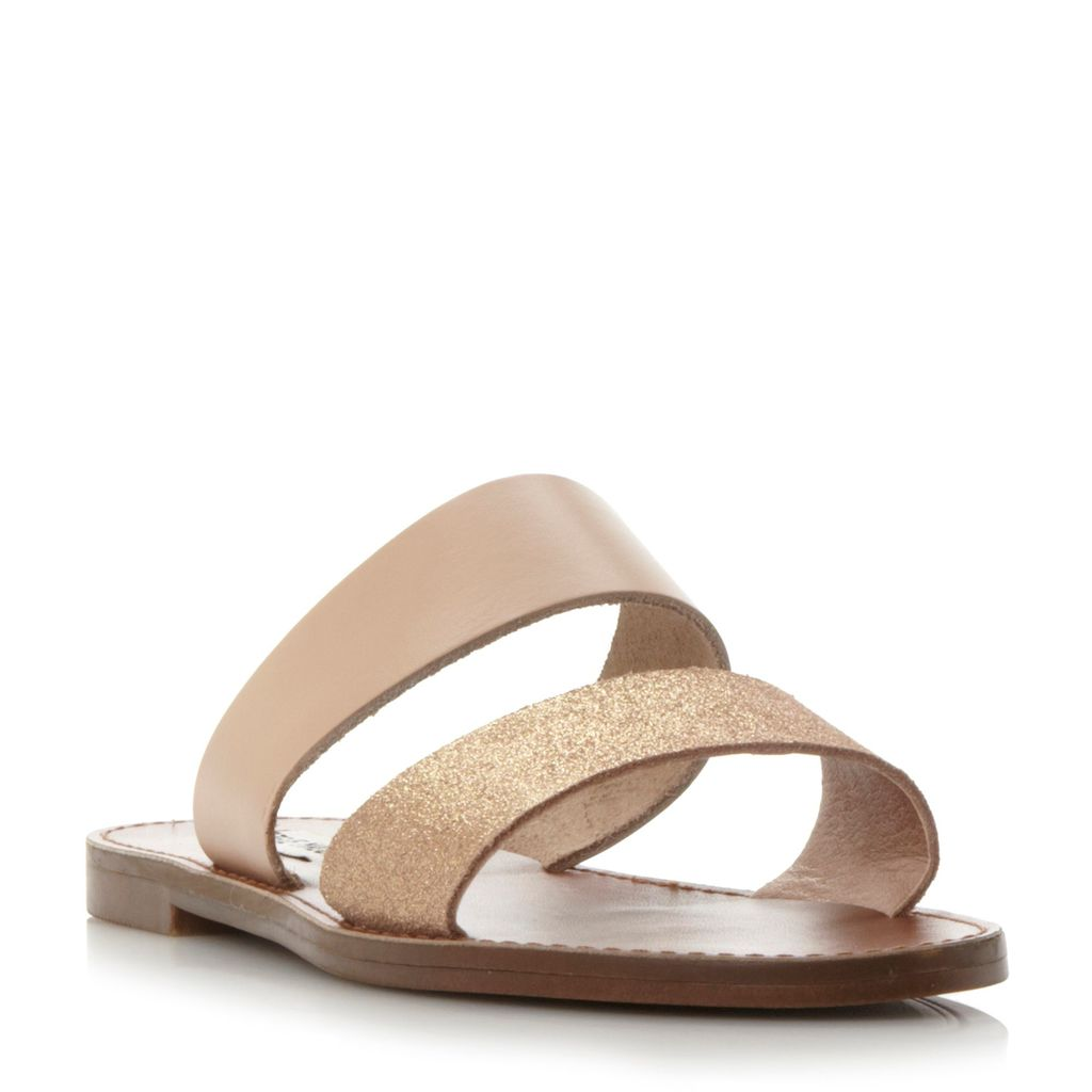 Malta M Sandals, Gold - predominant colour: gold; occasions: casual, holiday; material: leather; heel height: flat; embellishment: glitter; heel: standard; toe: open toe/peeptoe; style: slides; finish: plain; pattern: plain; season: s/s 2016; wardrobe: highlight