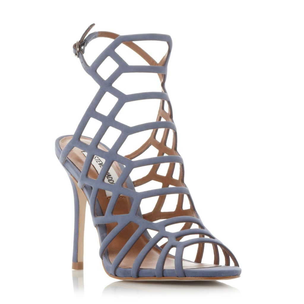 Slither Caged High Heel Sandals, Blue - predominant colour: denim; occasions: evening, occasion; material: suede; heel height: high; ankle detail: ankle strap; heel: stiletto; toe: open toe/peeptoe; style: strappy; finish: plain; pattern: plain; season: s/s 2016; wardrobe: event