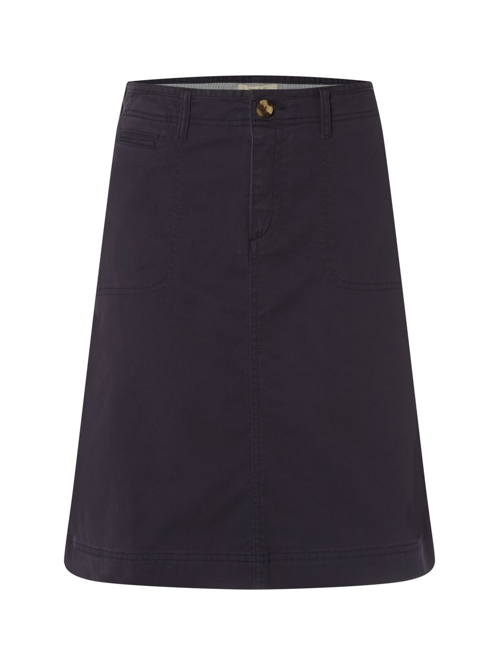 Heritage Chino Skirt, Navy - pattern: plain; fit: loose/voluminous; waist: high rise; predominant colour: navy; occasions: casual; length: on the knee; style: a-line; fibres: cotton - 100%; texture group: cotton feel fabrics; pattern type: fabric; season: s/s 2016