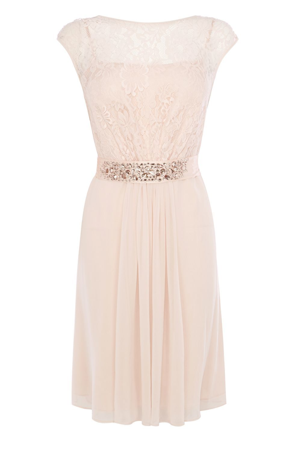 Lori Lee Lace Short Dress, Blush - neckline: round neck; sleeve style: capped; waist detail: embellishment at waist/feature waistband; predominant colour: blush; length: on the knee; fit: fitted at waist & bust; style: fit & flare; fibres: polyester/polyamide - 100%; occasions: occasion; sleeve length: short sleeve; texture group: sheer fabrics/chiffon/organza etc.; pattern type: fabric; pattern: patterned/print; embellishment: beading; season: s/s 2016