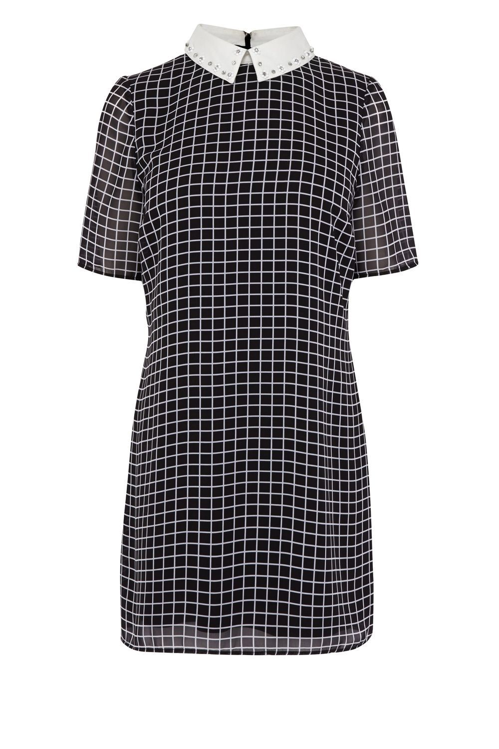 Jaxson Check Shirt Dress, Natural - style: shift; length: mid thigh; pattern: checked/gingham; secondary colour: white; predominant colour: navy; occasions: casual; fit: body skimming; fibres: polyester/polyamide - 100%; neckline: no opening/shirt collar/peter pan; sleeve length: short sleeve; sleeve style: standard; pattern type: fabric; texture group: other - light to midweight; multicoloured: multicoloured; season: s/s 2016; wardrobe: highlight