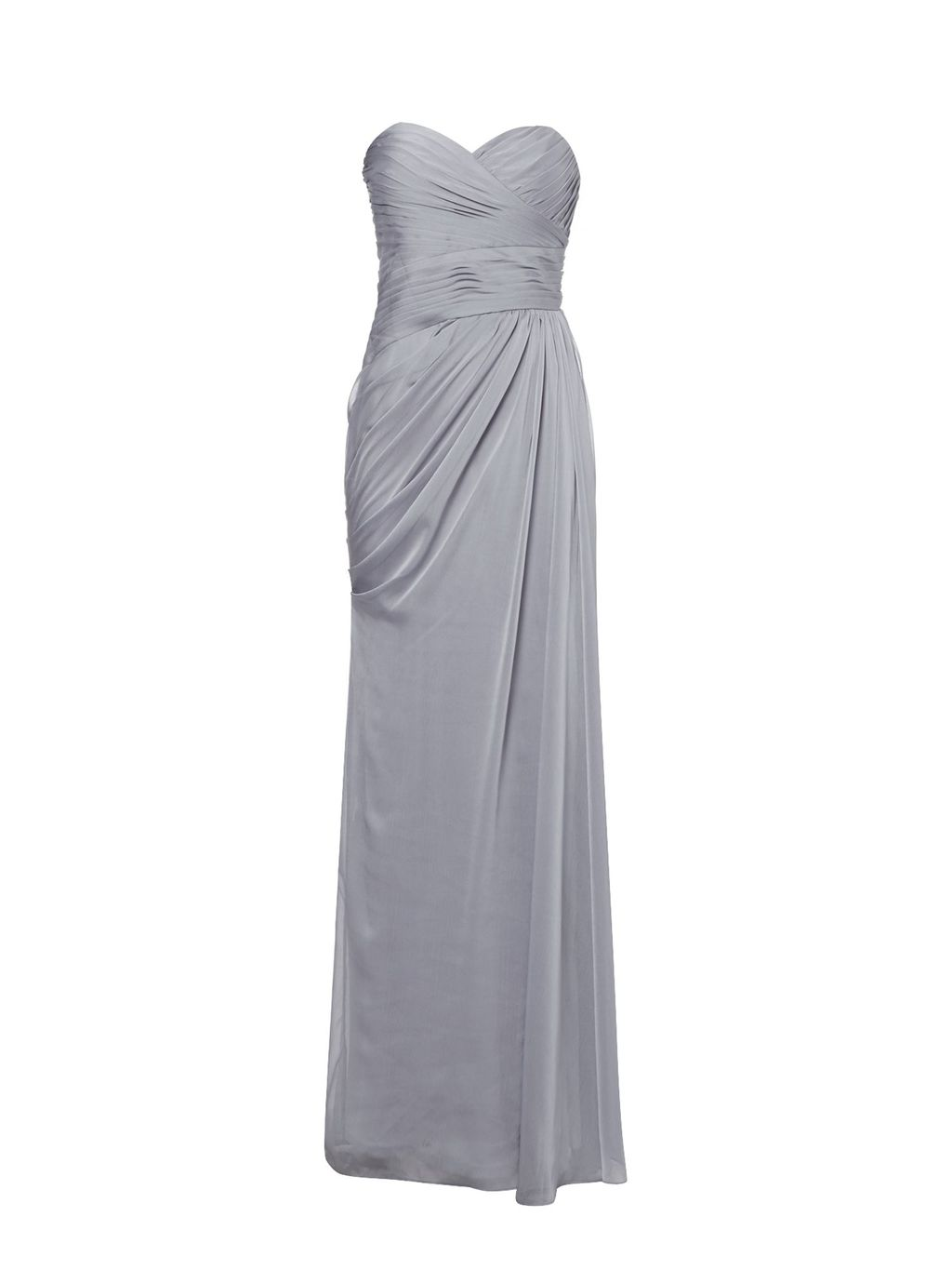 Strapless Chiffon Gown, Mauve - style: ballgown; neckline: strapless (straight/sweetheart); pattern: plain; sleeve style: strapless; predominant colour: silver; occasions: evening; length: floor length; fit: body skimming; fibres: polyester/polyamide - 100%; sleeve length: sleeveless; texture group: sheer fabrics/chiffon/organza etc.; pattern type: fabric; season: s/s 2016; wardrobe: event