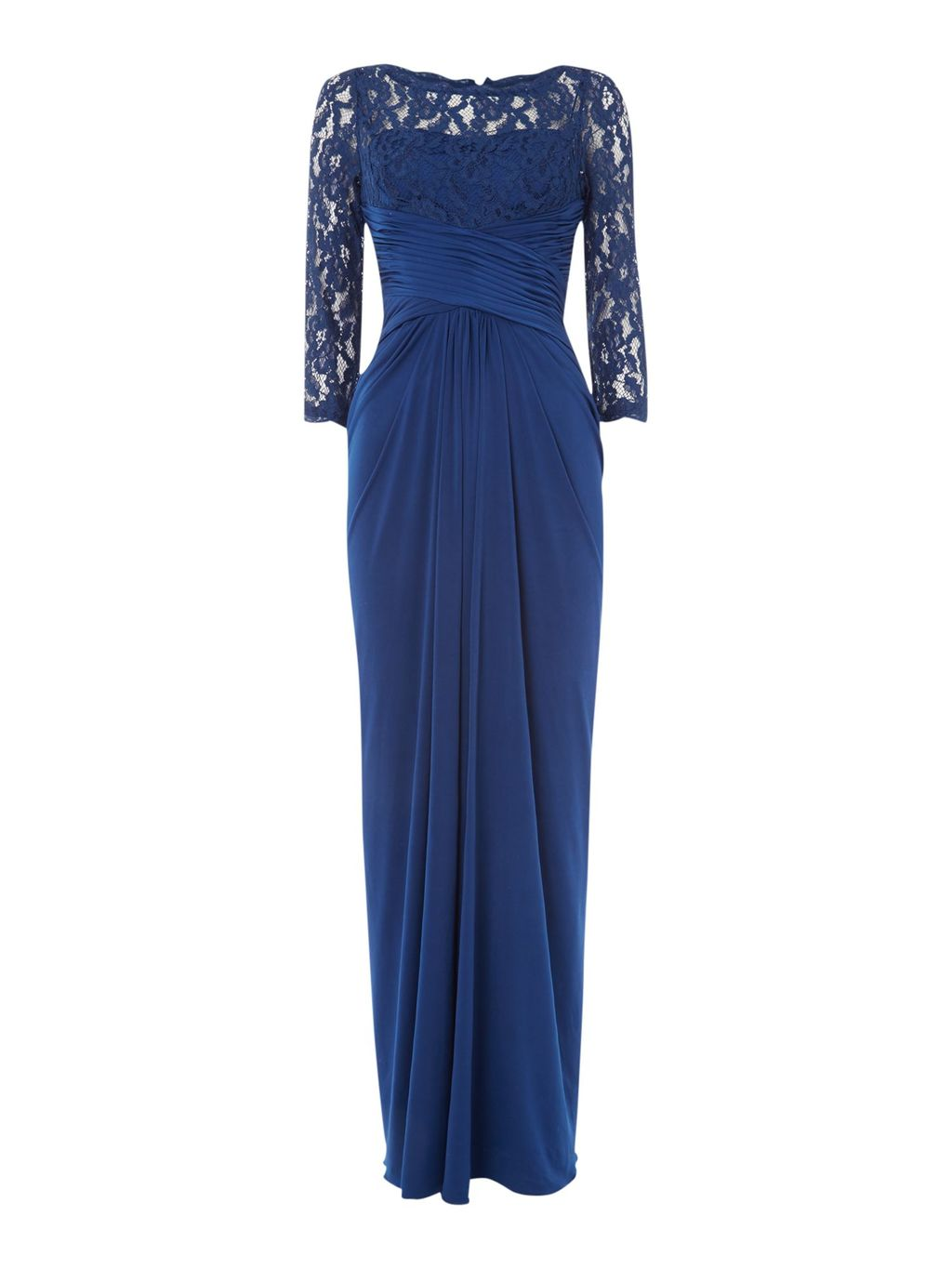 Rouched Waist Gown With Lace Top And 3/4 Sleeves, Navy - style: ballgown; pattern: plain; waist detail: flattering waist detail; bust detail: subtle bust detail; predominant colour: royal blue; occasions: evening; length: floor length; fit: body skimming; fibres: polyester/polyamide - stretch; neckline: crew; hip detail: subtle/flattering hip detail; sleeve length: 3/4 length; sleeve style: standard; pattern type: fabric; texture group: jersey - stretchy/drapey; embellishment: lace; shoulder detail: sheer at shoulder; season: s/s 2016; wardrobe: event; embellishment location: top