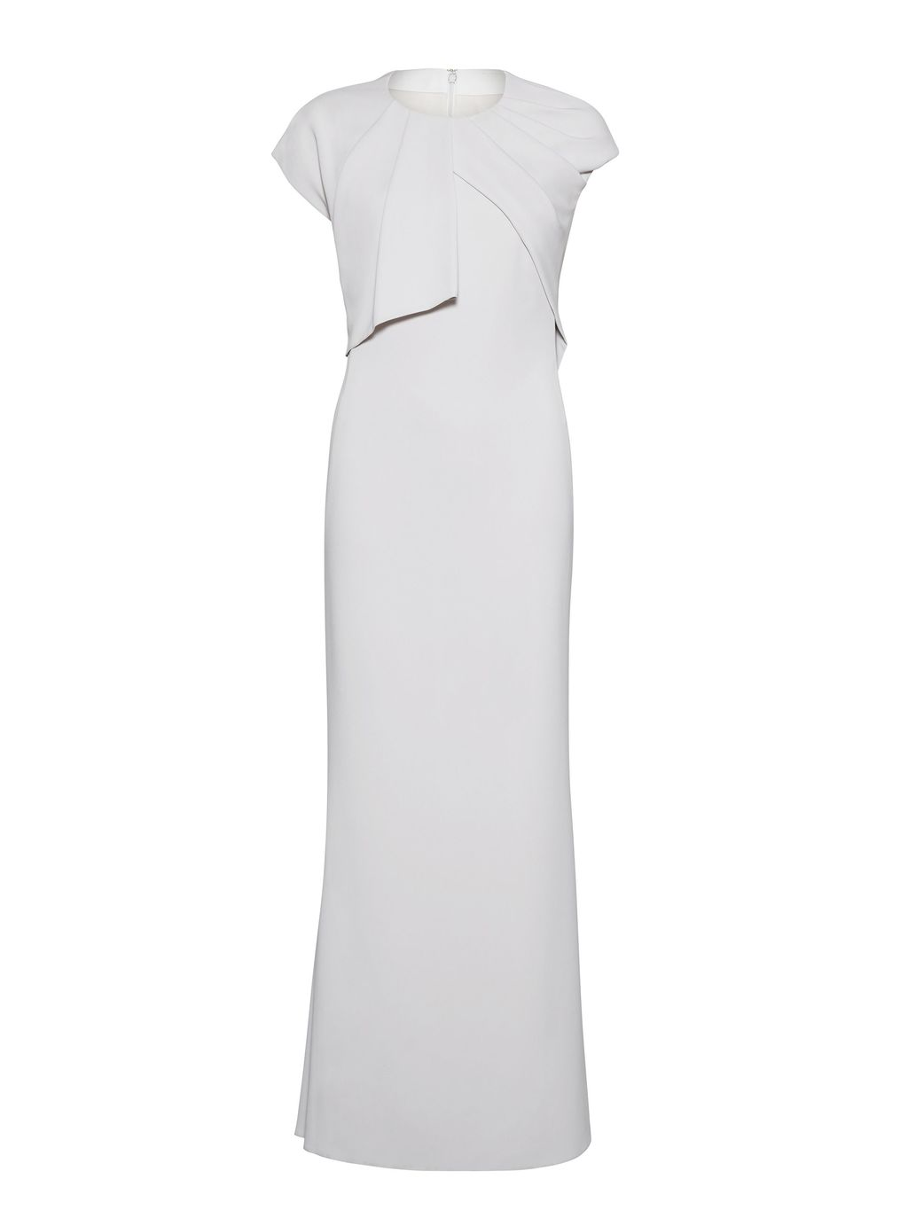 Stretch Moss Crepe Dress, Silver - sleeve style: capped; fit: tailored/fitted; pattern: plain; style: maxi dress; predominant colour: ivory/cream; length: floor length; fibres: polyester/polyamide - stretch; occasions: occasion; neckline: crew; sleeve length: short sleeve; texture group: crepes; pattern type: fabric; season: s/s 2016; wardrobe: event