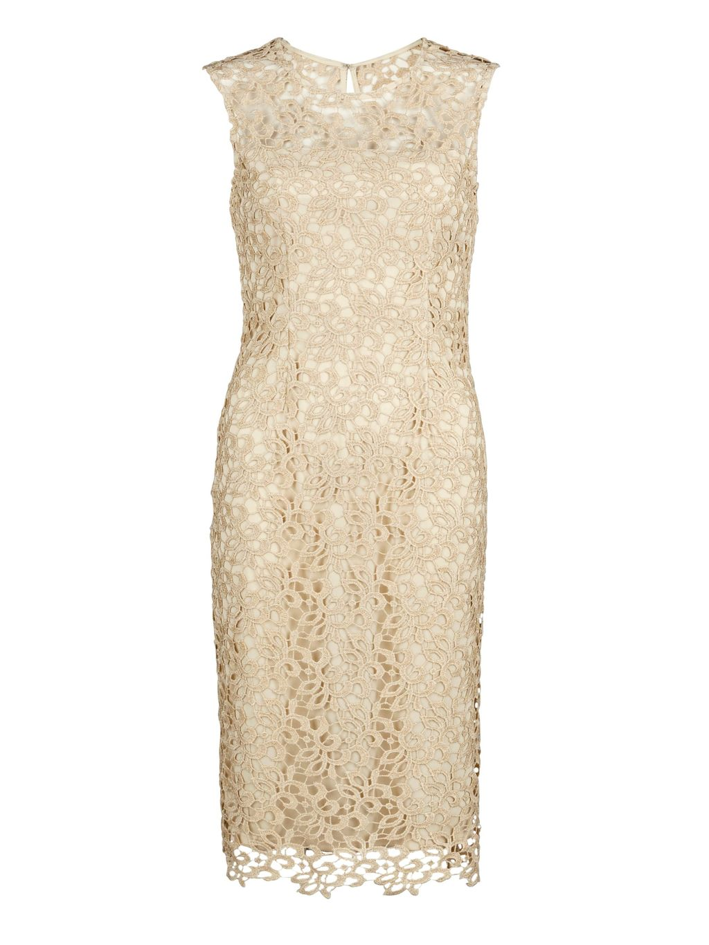 Metallic Guipure Dress, Beige - style: shift; fit: tailored/fitted; sleeve style: sleeveless; predominant colour: ivory/cream; occasions: evening, occasion; length: on the knee; fibres: polyester/polyamide - 100%; neckline: crew; sleeve length: sleeveless; texture group: lace; pattern type: fabric; pattern size: standard; pattern: patterned/print; season: s/s 2016; wardrobe: event