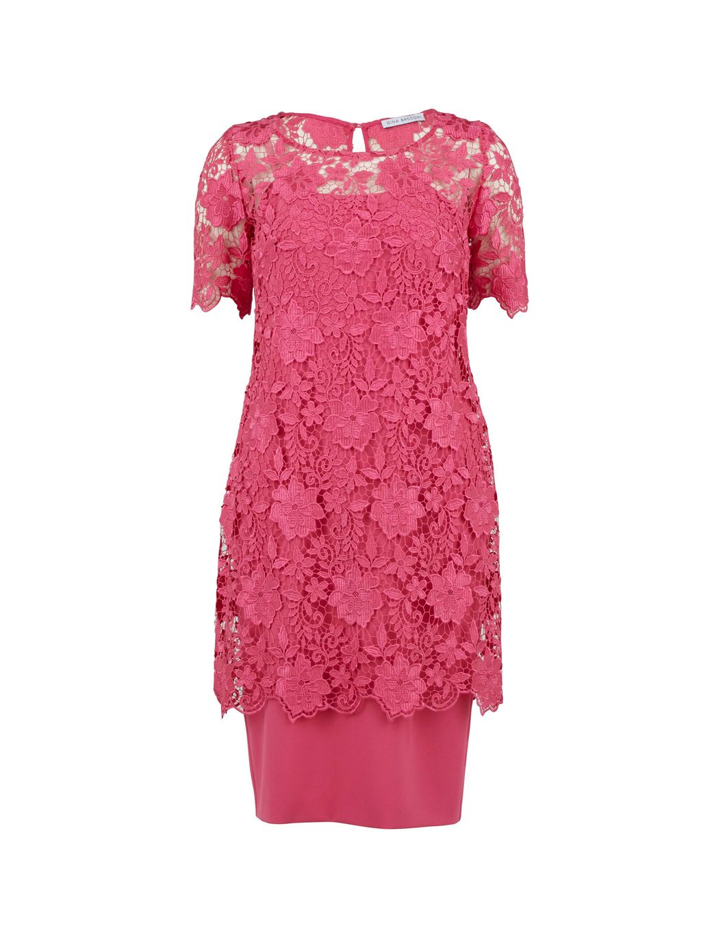 Guipure Half Sleeved Top Over Dress, Pink - style: shift; pattern: plain; bust detail: sheer at bust; predominant colour: pink; occasions: evening; length: just above the knee; fit: body skimming; fibres: polyester/polyamide - stretch; neckline: crew; sleeve length: short sleeve; sleeve style: standard; texture group: lace; pattern type: fabric; season: s/s 2016