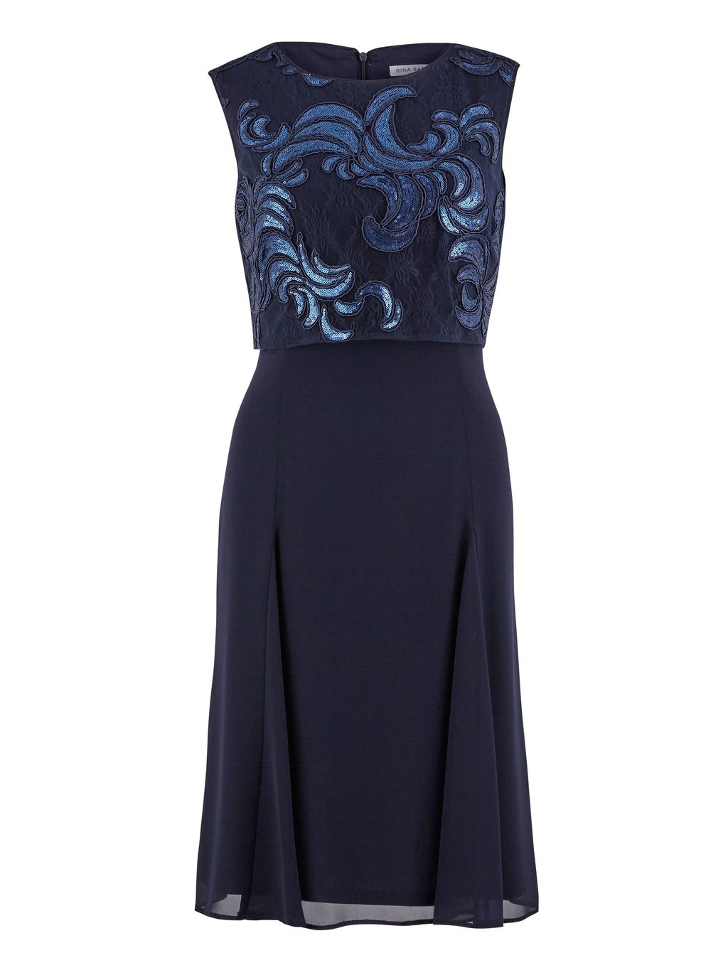 2 Tone Navy Sequin And Chiffon Dress, Navy - length: below the knee; pattern: plain; sleeve style: sleeveless; predominant colour: navy; occasions: evening; fit: fitted at waist & bust; style: fit & flare; fibres: polyester/polyamide - 100%; neckline: crew; sleeve length: sleeveless; texture group: sheer fabrics/chiffon/organza etc.; pattern type: fabric; embellishment: sequins; season: s/s 2016; wardrobe: event; embellishment location: bust
