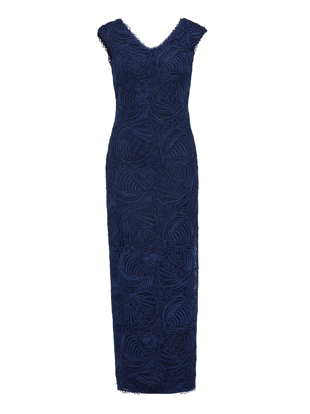 Long V Neck Braid Embroidery Net Dress, Navy - neckline: v-neck; pattern: plain; sleeve style: sleeveless; style: maxi dress; predominant colour: navy; occasions: evening; length: floor length; fit: body skimming; fibres: polyester/polyamide - 100%; sleeve length: sleeveless; pattern type: fabric; texture group: other - light to midweight; embellishment: embroidered; season: s/s 2016; wardrobe: event