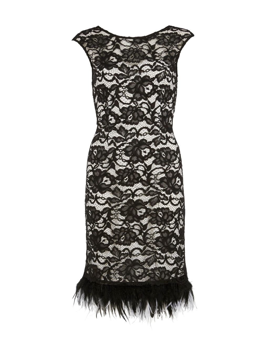 Lace Dress With Feathered Trim, Black/White - style: shift; length: mid thigh; neckline: round neck; sleeve style: capped; fit: tailored/fitted; secondary colour: white; predominant colour: black; occasions: evening, occasion; fibres: polyester/polyamide - 100%; hip detail: added detail/embellishment at hip; sleeve length: short sleeve; texture group: lace; pattern type: fabric; pattern size: standard; pattern: patterned/print; embellishment: feathers; season: s/s 2016