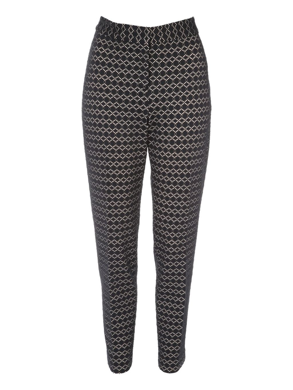 Bonded Lace Cigarette Trouser, Multi Coloured - length: standard; waist: mid/regular rise; secondary colour: ivory/cream; predominant colour: black; occasions: evening, creative work; fibres: polyester/polyamide - 100%; fit: straight leg; pattern type: fabric; pattern: patterned/print; texture group: brocade/jacquard; style: standard; pattern size: standard (bottom); season: s/s 2016; wardrobe: highlight